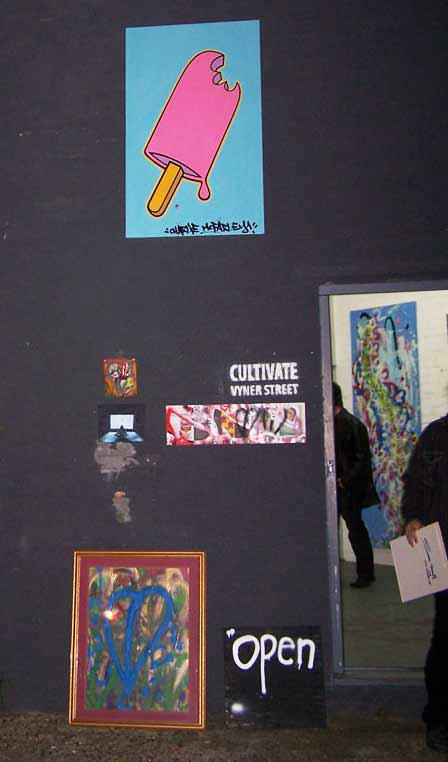 FREE ART at CULTIVATE, 2011 including a large CHARLIE McFARLEY lollipop canvas
