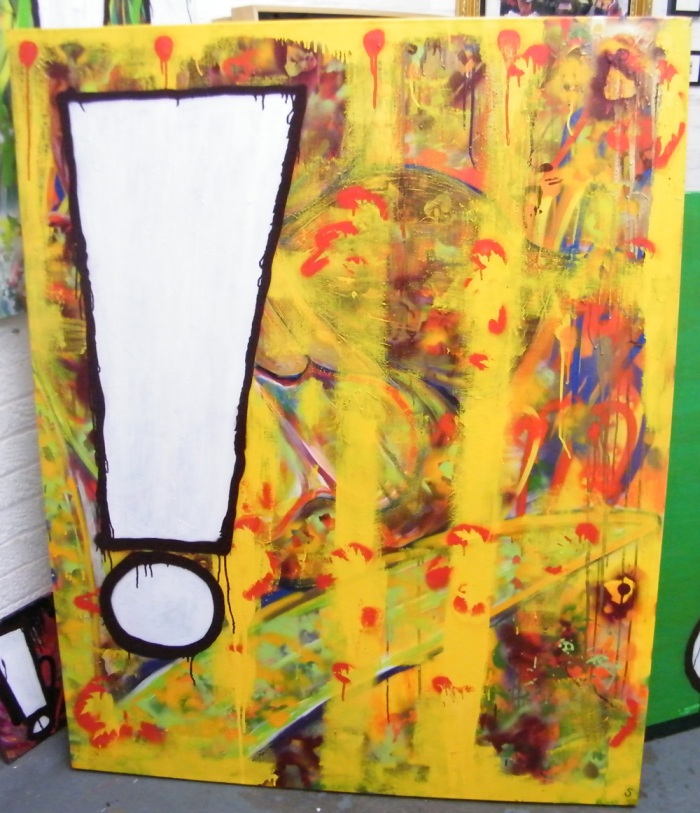 SEAN WORRALL  - Exclamation No1 (2013, acrylic/spray paint/household gloss on canvas)