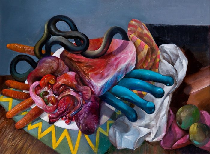 Steak and Iridescent Placenta with Four Turquoise Dildos (oil on linen, 12″ x 16″ 2012) – Gregory Jacobsen