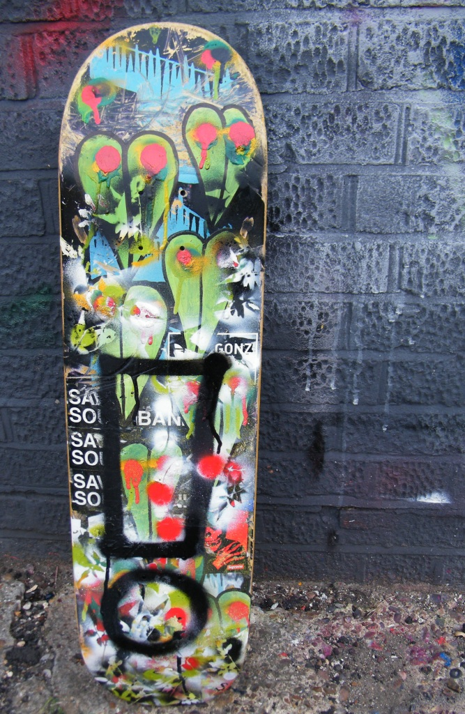 Exclaiming on an unwanted skateboard deck (Sean Worrall, August 2013)
