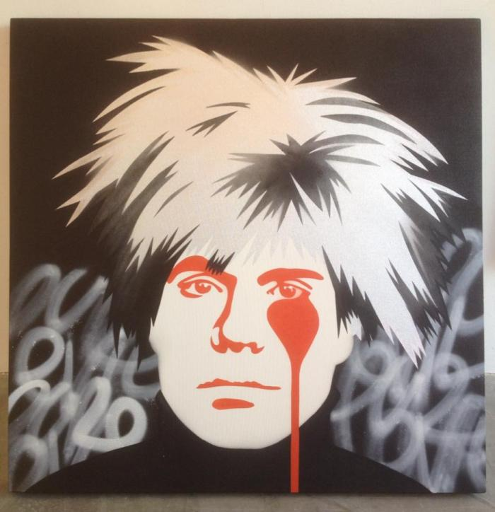 Andy Warhol's Nightmare - Pure Evil 100 x 100 cm stencil spray paint on canvas