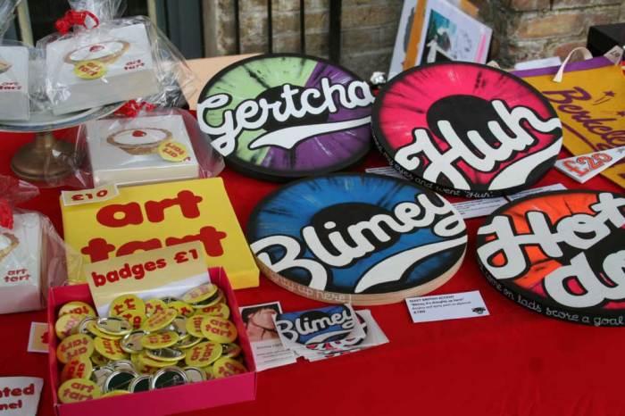 Blimey, art tarts, Emma Harvey and Quiet British Accent at the 2014 Art Car Boot Fair....