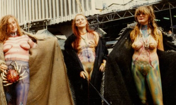 The Neo Naturists – from left Christine Binnie, Jennifer Binnie and Wilma Johnson – perform Swimming and Walking Experiment, London, 1984. Photograph: Courtesy the Neo Naturists Archive