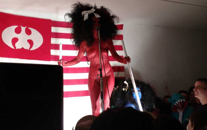 Kembra Pfahler at Emalin, Shoreditch, East London, Nov 15th 2016 (sw)