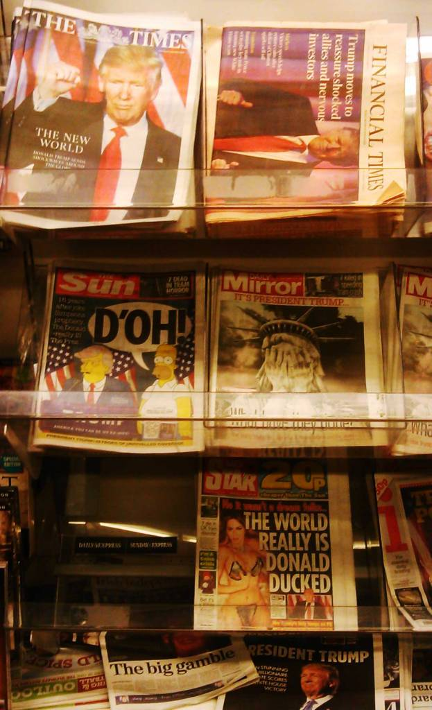 UK Newspaper stand the day after Trump..